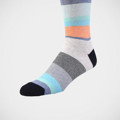 H. Halpern Esq. 'Multi-Stripe with Navy Toe' Socks