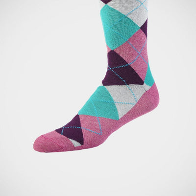 H. Halpern Esq. 'Argyle Plum & Teal' Socks.