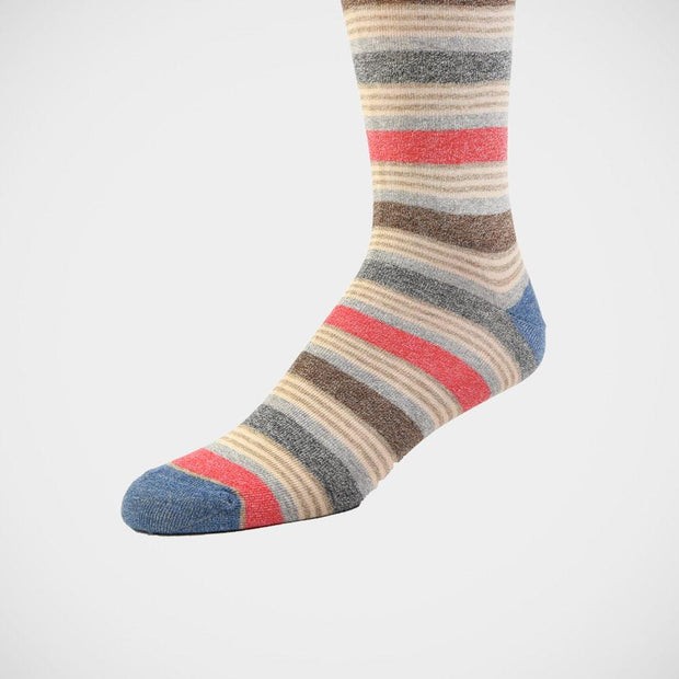 H. Halpern Esq. 'Heathered Stripe - Red & Tan' Socks