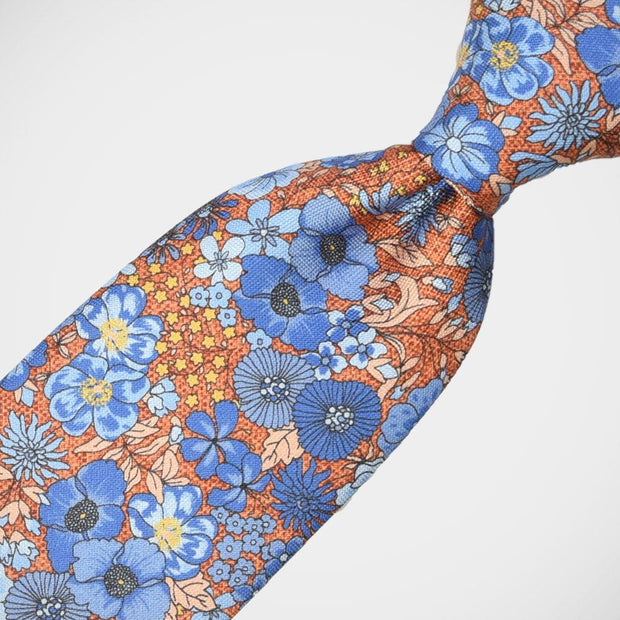 H. Halpern Esq. 'Blue Floral on Orange' Tie