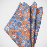 H. Halpern Esq. 'Orange & Blue Floral Reversible' Pocket Square