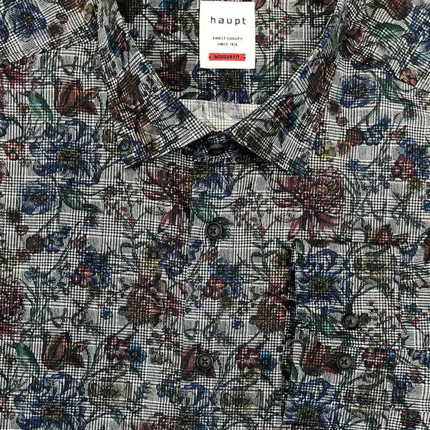 Haupt 'Glen Check with Floral' Sport Shirt