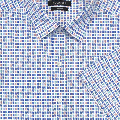 Bugatchi 'Chalk Squares' Short Sleeved Sport Shirt
