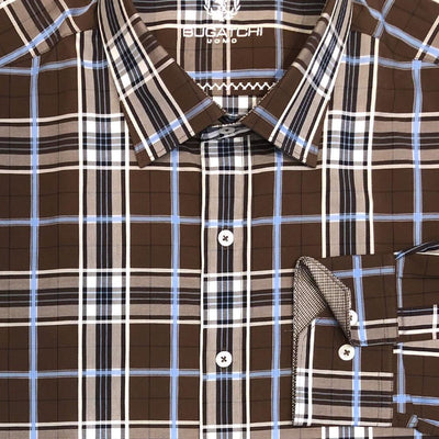 Bugatchi 'Brown Check' Sport Shirt