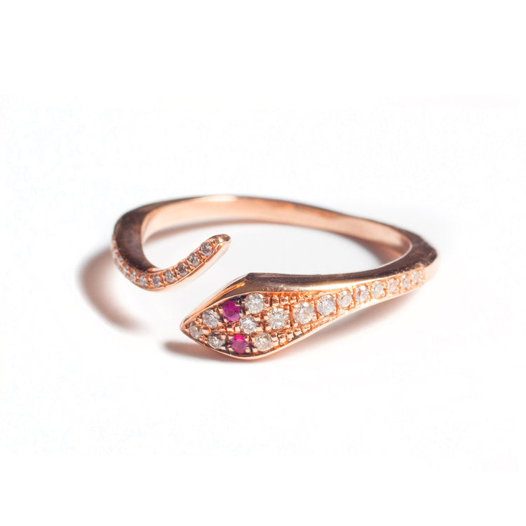 Diamond Serpent Ring with Ruby Accents