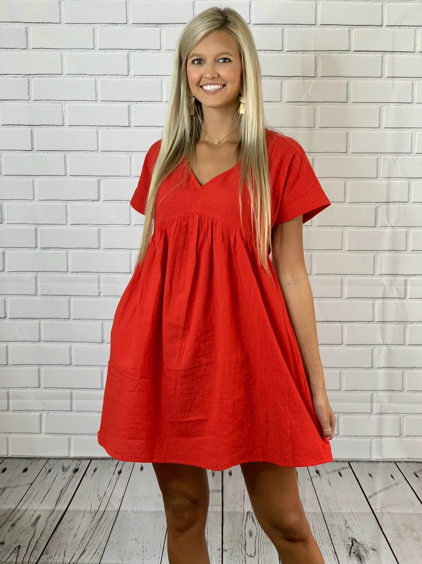 Show Out Red Babydoll Dress