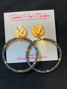 Gunmetal Beaded Hoops