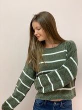Load image into Gallery viewer, Don't Push It Green Striped Sweater