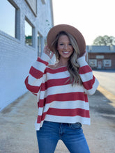 Load image into Gallery viewer, Meet Me at Sunset Striped Sweater