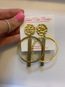 Gold Hoops with Rectangle Drop
