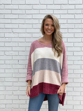 Chenille Color Block Sweater