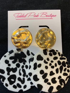 Gold Studded Animal Print Earrings