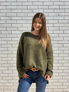 Let's Be Grateful Olive Sweater