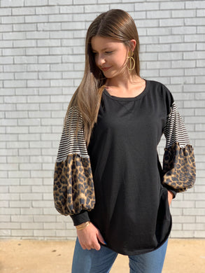 Multi Pattern Long Sleeve black Top