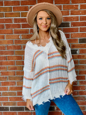 Never Lonely Coral Striped Sweater