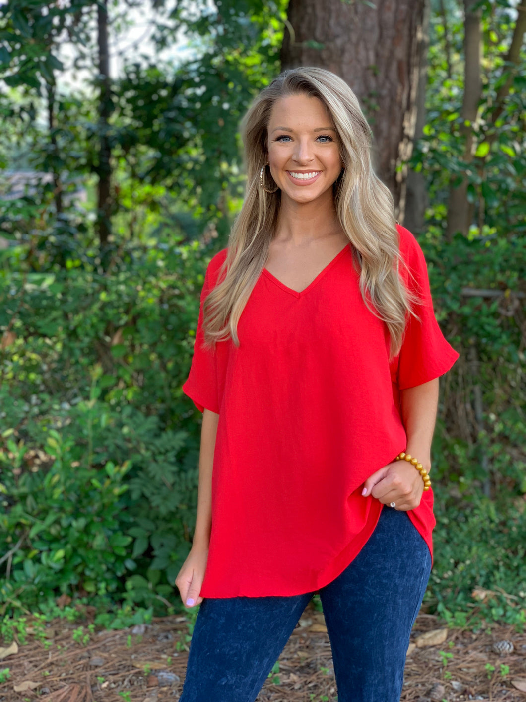 Follow Me Red Blouse