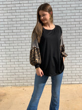 Load image into Gallery viewer, Multi Pattern Long Sleeve black Top
