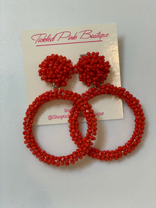 Red Cluster Seed Bead Hoops