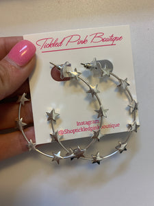 Silver Studded Star Half Hoops