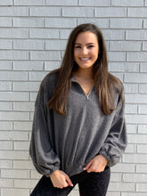 Load image into Gallery viewer, Charcoal Half Zip Pullover