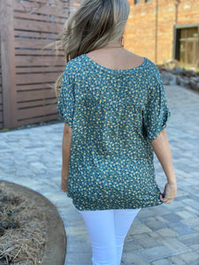 Picking Flowers Olive Top