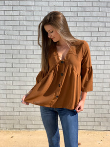 Do work Brown Babydoll Top