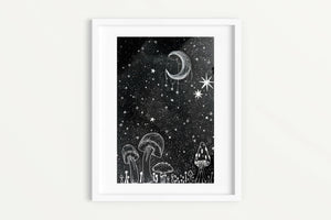 Celestial Art Print - Wild Mushrooms