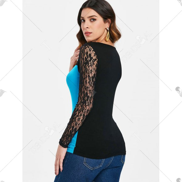 Lace Panel Long Sleeve T-shir