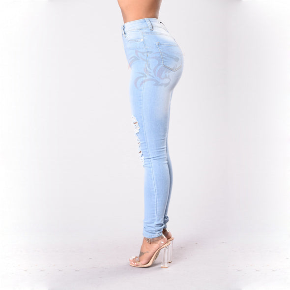 elastic bottom up jeans