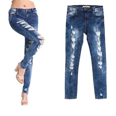 New Slim Stretchy Ripped Womens Pencil Jeans