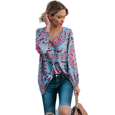 Women V Neck Flare Long Sleeve Loose Chiffon Blouse