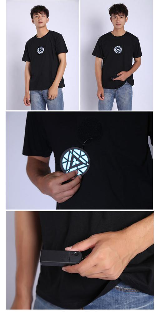 LED Light Iron Man Avengers Sound Active T Shirt