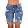 Light Blue Denim Ripped Womens Denim Shorts