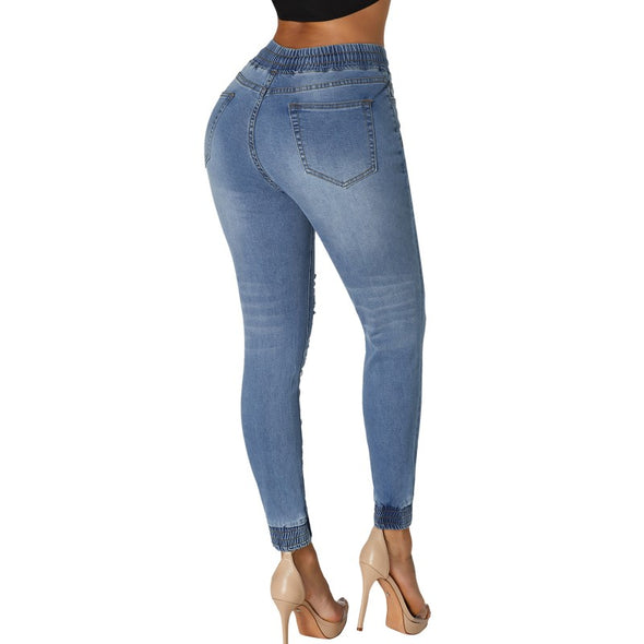 Blue Denim Womens Draw String Casual Jogger Pants