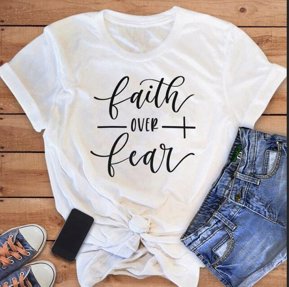 Faith Over Fear Christian -T-Shirt