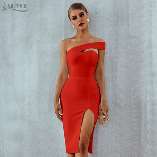 Adyce Bodycon Bandage Womens Sexy Elegant Shoulder Party Dresses