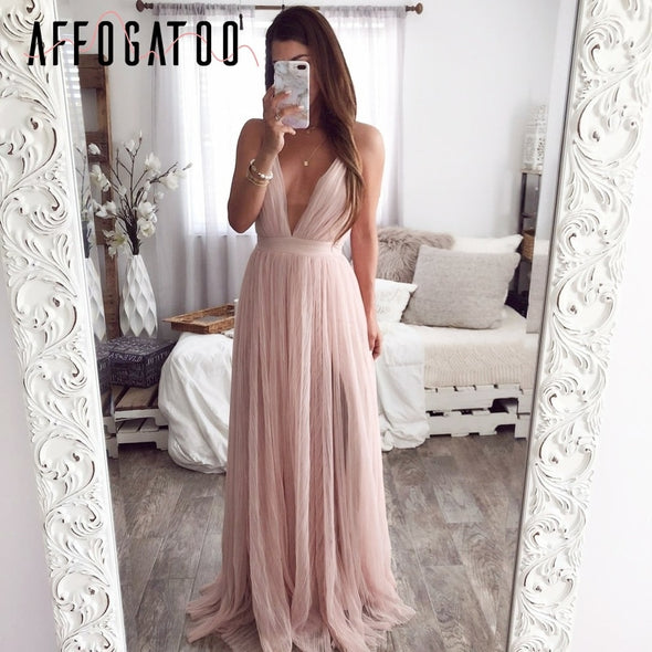 Affogatoo Sexy deep v neck backless womens Elegant lace maxi dress