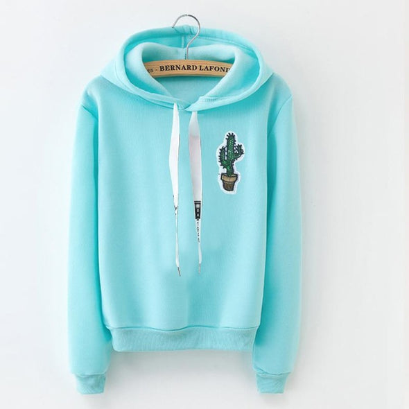 Winter Fleece Pullover Solid Thick Loose Women Hoodie