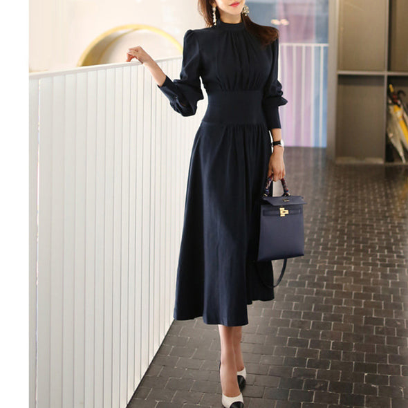 Ladies Stand Collar Lantern Sleeve Womens Elegant Slim Waist A-line Ruched Long Dress