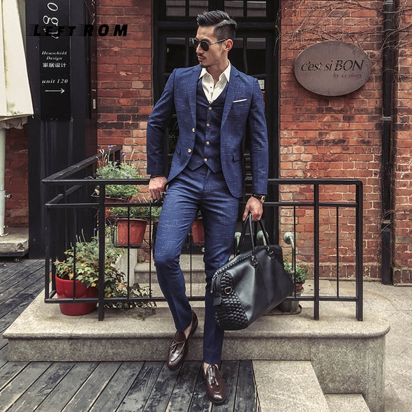 New Fashion Boutique Men's Plaid Formal Business Suit 3 Piece Set