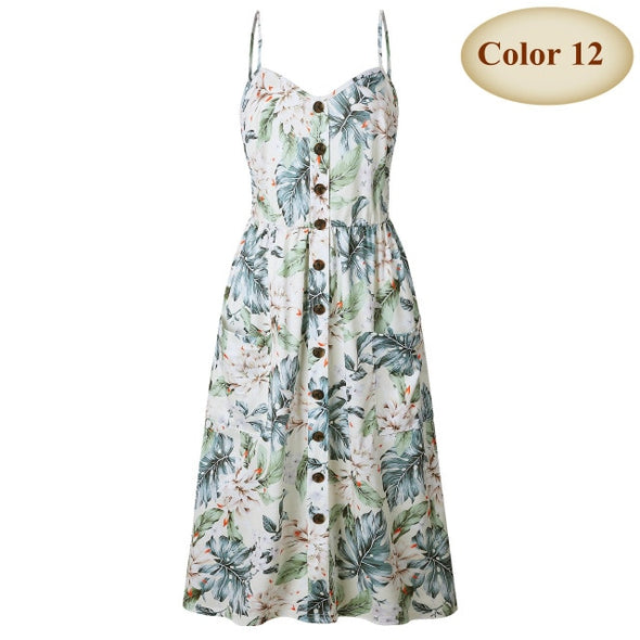 Sexy V Neck Backless Floral Summer Beach Dress