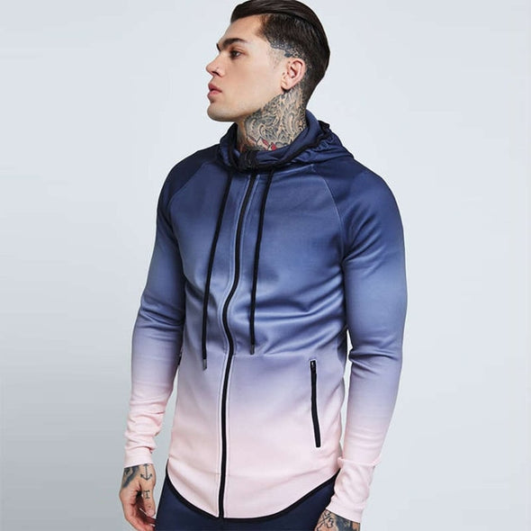 Mens gradient color thin hooded slim Cardigan sweatshirt