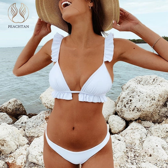 Peachtan V-neck bikini Push up ruffles female Triangle swimwear