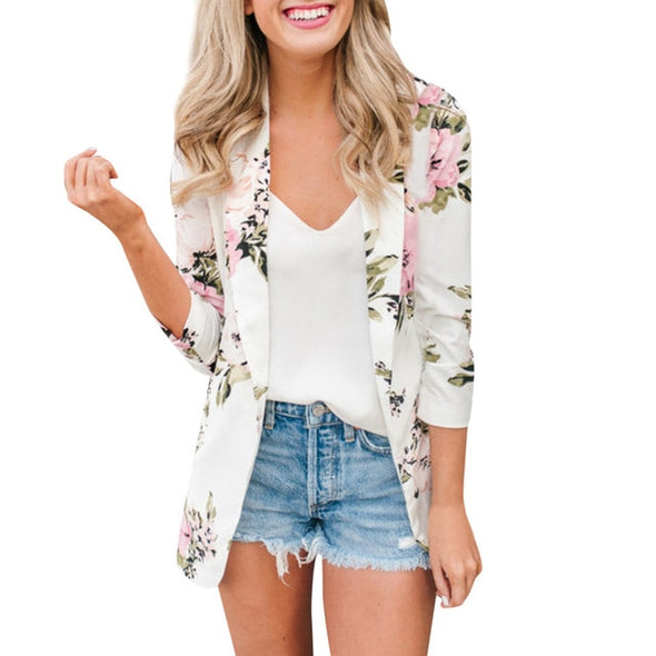 Ladies Floral Zip up Casual outerwear