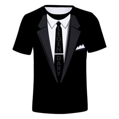 Men's Fake Suit n Tie Print T-Shirt