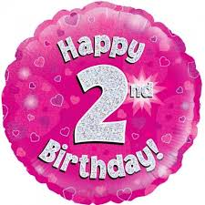 $  2  Feestartikelen - Kamerdecoraties - Ballonnen - Folie ballonnen - Folieballon Happy 2nd Birthday roze holographic