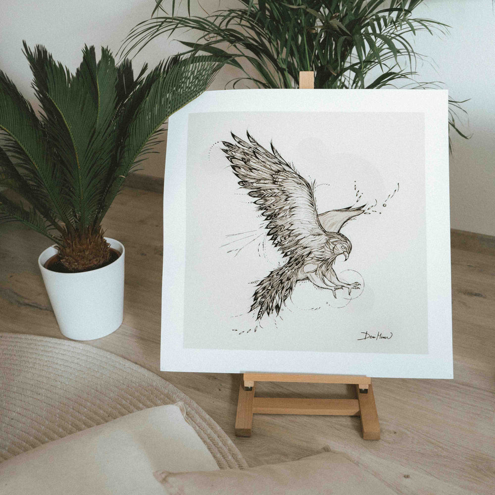 Falcon Animal line drawing print wall art by Deni Minar for nature and animal lovers