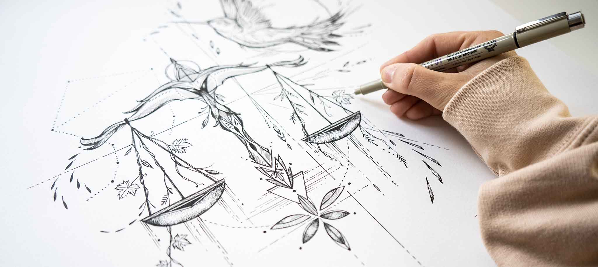 Deni Minar Drawing Artwork detail, wall art, prints, originals filled with nature elements and culture themes.
