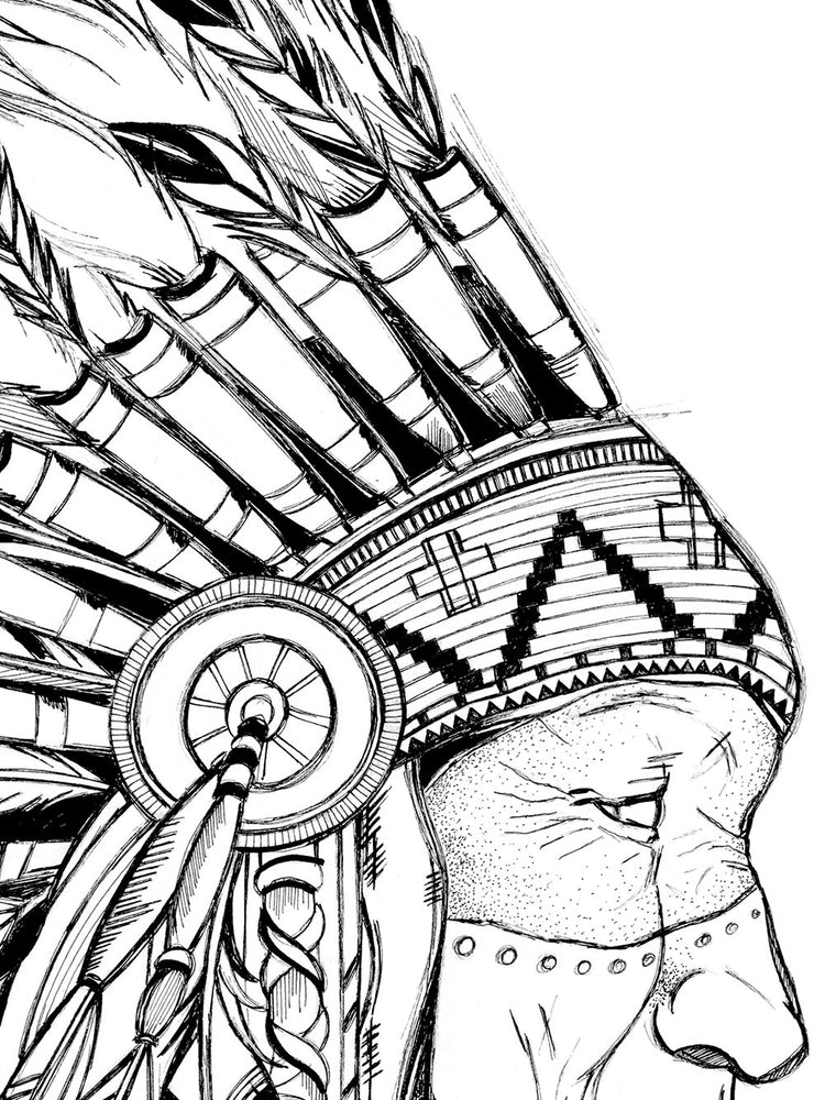 Native American Man line drawing print wall art home decor by Deni Minar for art collectors