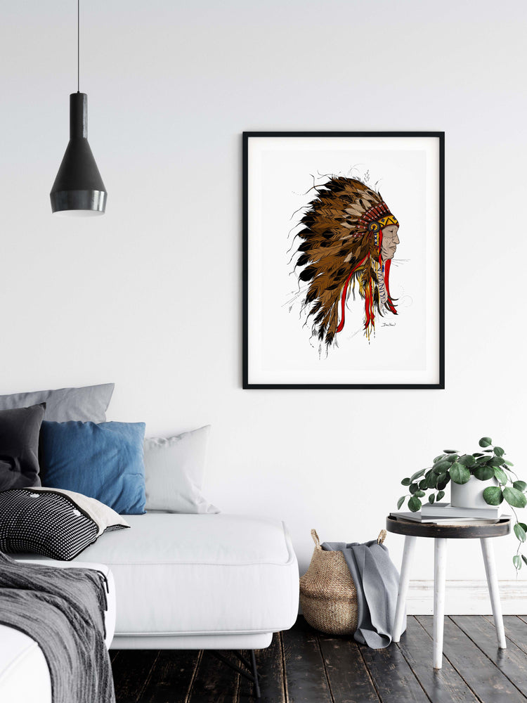 Native American Man color line drawing print wall art home decor by Deni Minar for art collectors